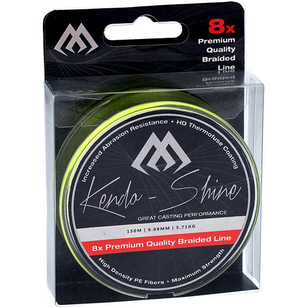 Плетеный шнур Mikado KENDO SHINE 8-x HDPE 0.23 yellow (150 м) 21,75 кг.